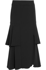 Tiered fluted stretch-crepe skirt