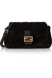 Baguette micro shearling and leather shoulder bag