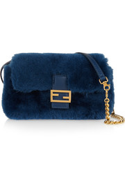 Baguette micro leather-trimmed shearling shoulder bag