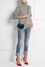 Fendi Baguette micro leather-trimmed shearling shoulder bag
