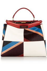 Peekaboo large leather-trimmed patchwork calf hair tote