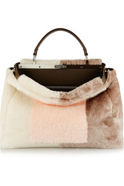 Peekaboo large leather-trimmed shearling tote