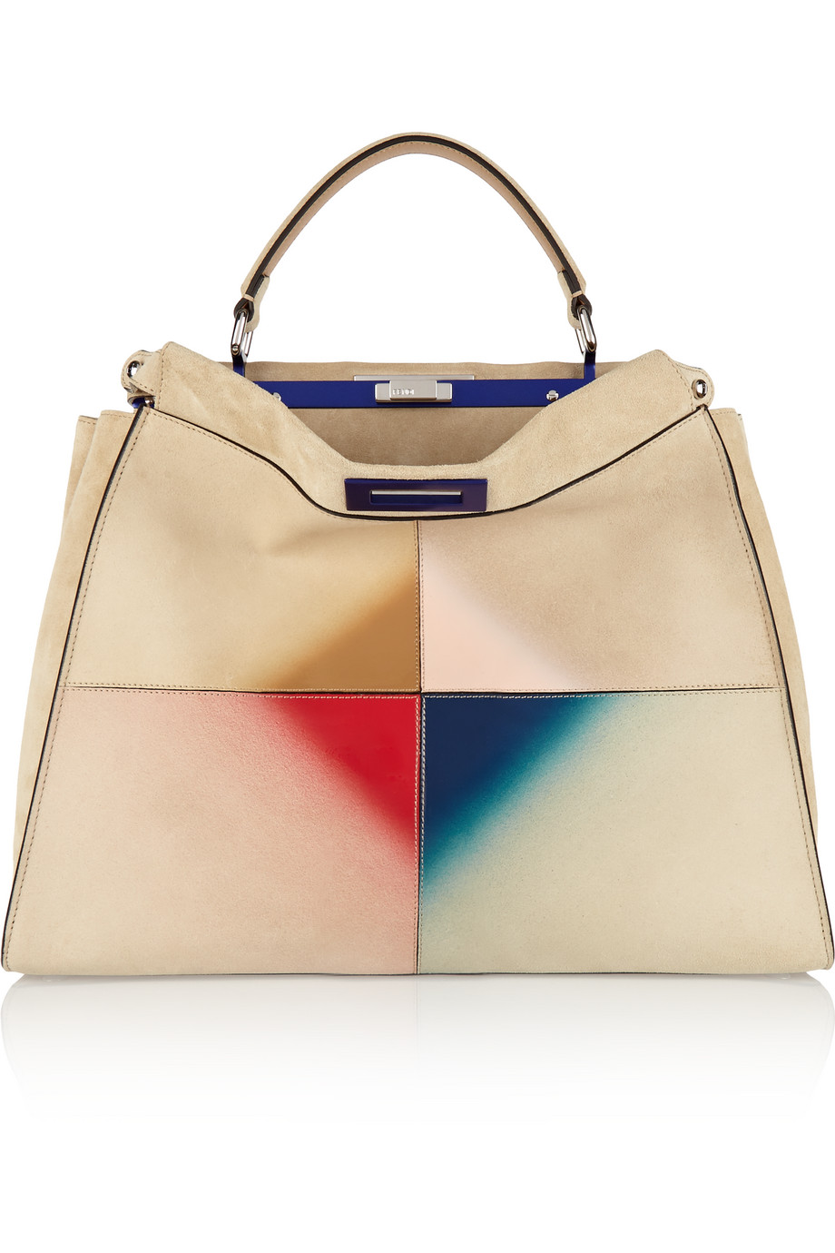 Fendi Peekaboo Large Patent Leather-Trimmed Suede Tote, Cream, Women's