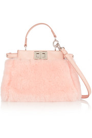 Peekaboo micro leather-trimmed shearling shoulder bag