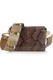 Box python shoulder bag