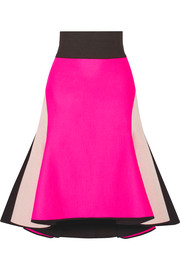 Asymmetric melton wool-blend and satin skirt