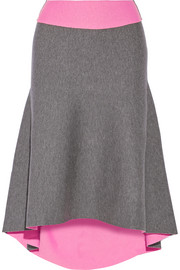 Reversible asymmetric stretch-knit skirt