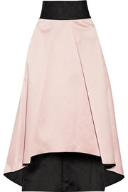 Pleated bonded satin skirt