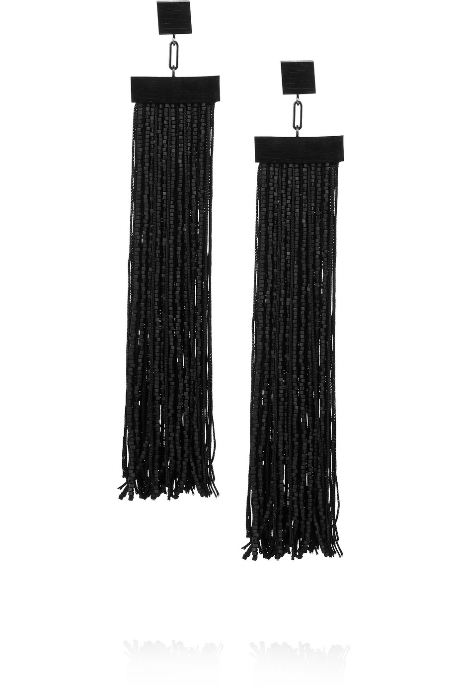 Fringed Gunmetal-Tone, Ebony and Beaded Earrings, Black, Women's