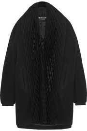 Honeycomb-pleated jersey and wool-blend coat