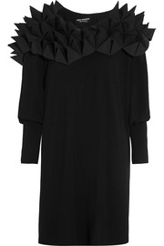 Spike-appliqu�d wool-jersey dress