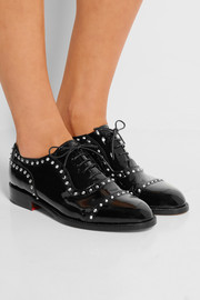 Studded patent-leather brogues