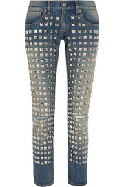 Studded low-rise straight-leg jeans