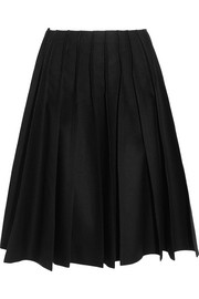 Pleated wool-felt skirt