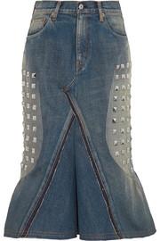 Studded denim midi skirt