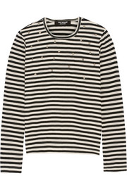 Studded striped wool-jersey top