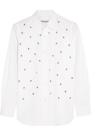 Studded cotton-poplin shirt