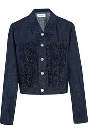 Ruffled washed-denim jacket