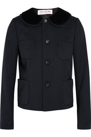 Velvet-trimmed wool-twill jacket