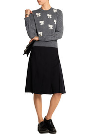 Bow-intarsia wool sweater