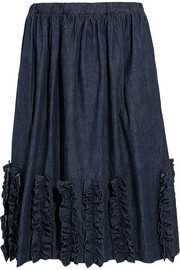 Ruffled washed-denim skirt