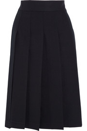 Pleated wool-gabardine skirt