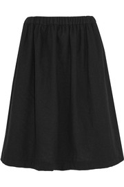 Fluted wool-blend skirt