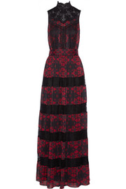 Alice + Olivia Briella lace-paneled printed georgette gown