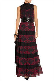 Briella lace-paneled printed georgette gown