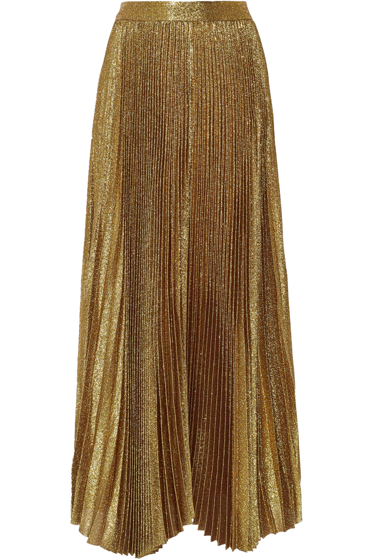Alice + Olivia Katz pleated metallic silk-blend maxi skirt