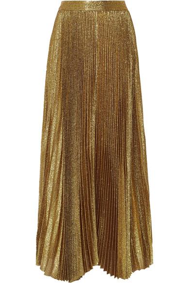 08348706a Alice + Olivia | Katz pleated metallic silk-blend maxi skirt | NET-A ...