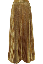Katz pleated metallic silk-blend maxi skirt