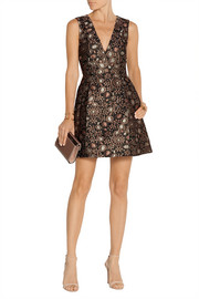 Pacey metallic brocade mini dress