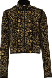 Phoenix embroidered velvet jacket