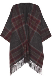 Saiome checked wool-blend cape