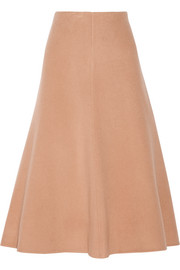 Uthema wool and cashmere-blend felt midi skirt