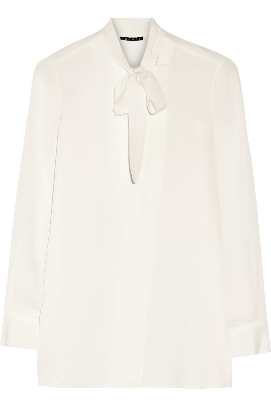 Theory Yumcha Pussy-Bow Silk Crepe De Chine Blouse, Size: XL