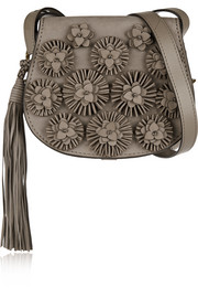 Floral-appliquéd nubuck shoulder bag
