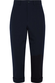 Cropped wool-gabardine straight-leg pants