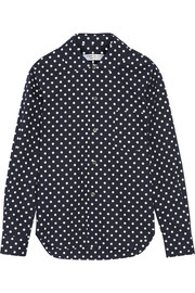 Polka-dot cotton-poplin shirt