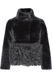 Reversible shearling and leather jacket