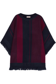Fringed striped merino wool poncho