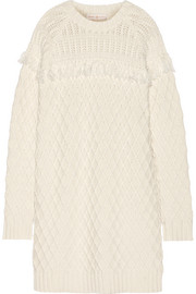 Fringed cable-knit wool sweater dress