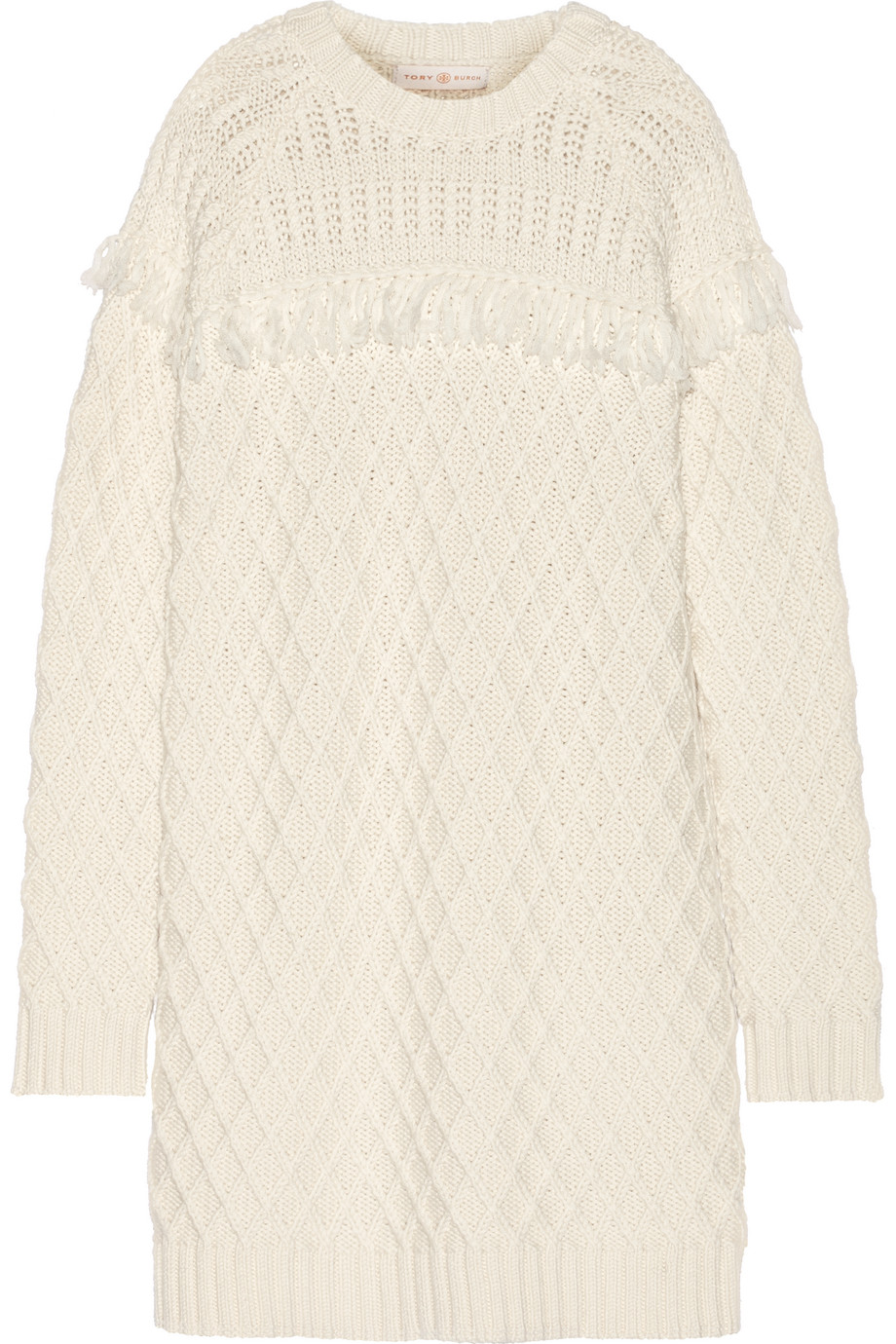 Tory Burch Fringed Cable-Knit Wool Sweater Dress, Ivory, Women's, Size: M