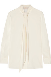 Tory Burch Pussy-bow stretch-silk blouse