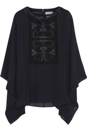 Embellished silk-georgette top