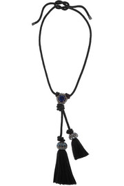 Lanvin Woven, pewter and crystal necklace