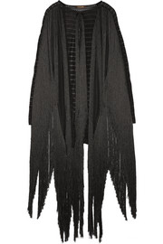 Fringed open-knit cape