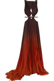 Ombré cutout pleated silk-chiffon gown