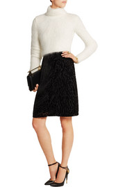 Cropped ribbed angora-blend turtleneck sweater